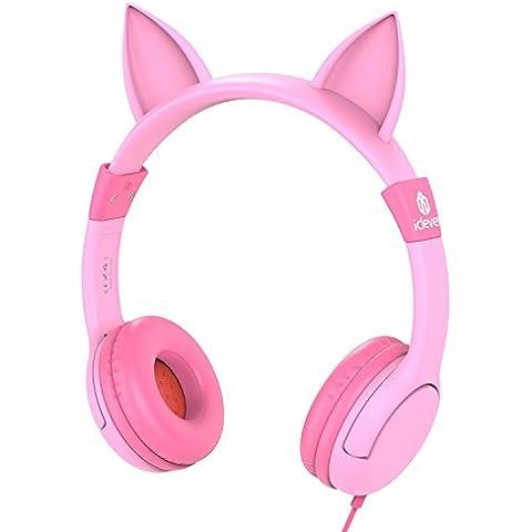 Las Auriculares para niños,iClever Auriculares por cable,Con el color de oreja de gato rosa,Un buen regalo para la navidad---Nivel A