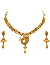 JFL - Traditional Ethnic One Gram Gold Plated Designer Necklace Set With Earrings For Women & Girls.
