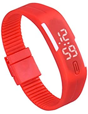 Franterd® Mode Herren Frauen Damen-Armbanduhr Elegant Rubber LED Uhr Datum Sports Armband-Digital-Armbanduhr Rot