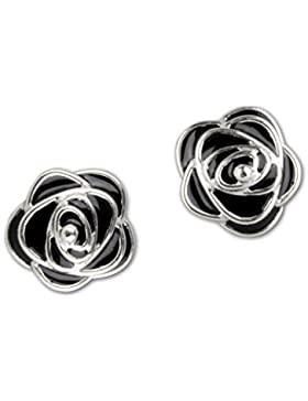 etNox Ohrstecker ''Black Roses'' 925 Silber + Emaille (O4504B)