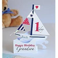 Tarjeta popup personalizada del barco de navegación para un muchacho/nieto/hijo/ahijado/cumpleanos del sobrino.