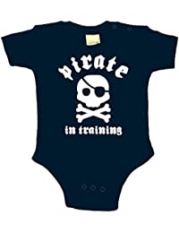 Click My Clobber Baby Boys Bodysuit Pirate in Training Black 3 Months