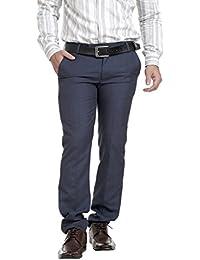 Routeen Men's Demando Blue Slim Fit Formal Trousers