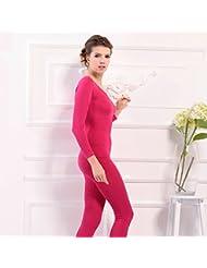 XMQC*La Sra. conjuntos de ropa interior térmica de manga larga de cuello redondo solo una capa delgada de sexy body shape, formando el otoño e invierno con código de color albaricoque , son rose , son código
