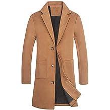 Hiroo Parka Giacca da Uomo Cappotto Caldo Trench Invernale Outwear Lunghi  Cappotti con Soprabito a Bottoni 4a15713b66d