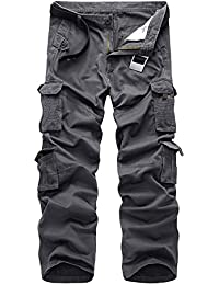 Sunshey Mens Casual Combat Cargo Pants Trousers Loose Cotton Work Wear Camouflage Trousers Size 28-42