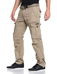 Deeluxe 74 - Pantalon homme cargo olive multipoches
