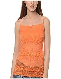 1ce76b45c36c4 BJAC Women s Hip Length Lace Orange Camisole