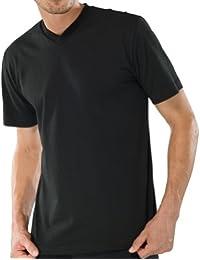 Schiesser 2 Stück American T-Shirt V-Ausschnitt Herren T-Shirt V-Neck - Schwarz