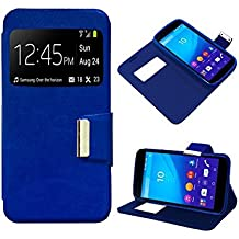 Funda Flip Cover Sony Xperia M4 Aqua Liso Azul
