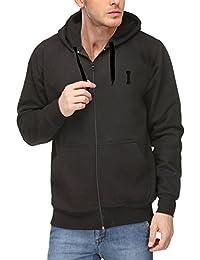 Scott Men's Premium Cotton Flocking Letter Pullover Hoodie Sweatshirt WITH Zip - Black