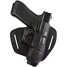 100 % de piel IPSC / IPA Funda de extracción rápida para cinturón, para Glock: 17, 19, 20, 21, 22, 23, 25, 31, 32 y 37