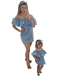 Tomsent Verano Casual Sin Tirantes Manga Corta Madre e Hija Chiffon Mini Hoja de Loto Vestido Familia Fiesta Partido…
