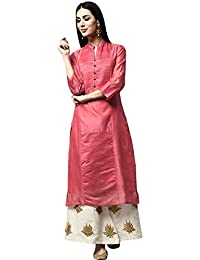 5c7d769751 Libas Women's Straight Kurta with Pintucks Yolk and Flare Plazzo with  Gotapatti Floral Motifs Set