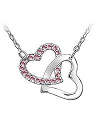 Le Premium - Collar con dije de corazones juntos hecho con elementos swarovski® cristales rosa con caja de regalo