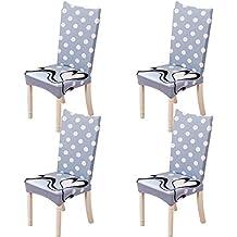 Feilaxleer Fundas para sillas Comedor elásticas Universal Pack de 4,Cubiertas para sillas Respaldo Alto