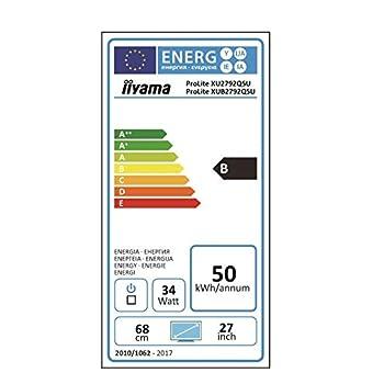 iiyama XUB2792QSU-B1 27-Inch ProLite Height Adjustable IPS WQHD Slim LED Monitor - Black
