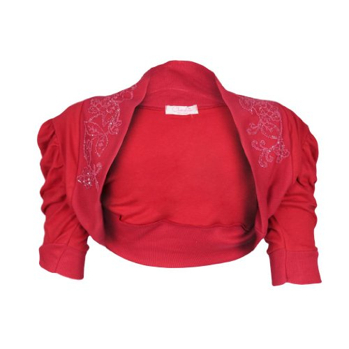 Embelished Ethin da donna con perline, motivo Bolero Shrug-Pantaloncini da donna con maniche arricciate Cardigan Top 8-14 Rosso