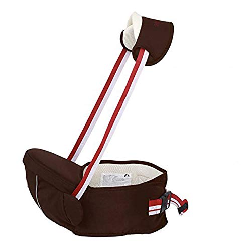 Baby Carrier Seat Hip Stool Waist Baby Waist Stool Positions Multifunction Seat Backpack Honda Safe Buckle for 0 - 36 Months Kids (Coffee)