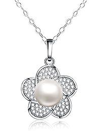 "Collar con colgante de mujer 18"" - Forma de flor - Natural agua dulce de la perla 10mm - Plata esterlina 925"