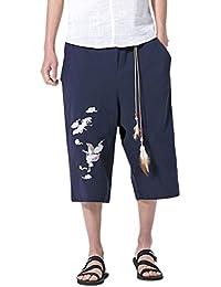 Zhuhaitf Talla grande Transpirable Verano harén Pants Hombres Bordado Lino Casual  pantalones para Adolescentes Estilo étnico c612da8a60d