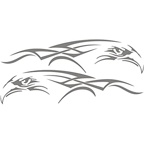 3048__S Car stickers SET Tribal Eagles Vinyl Tattoos, Car Decal Vinyl Graphics 2 Sides Body Vinyl Stickers (L - 117 cm.(46 inch) / H - 53 cm.(21 inch) Silver)