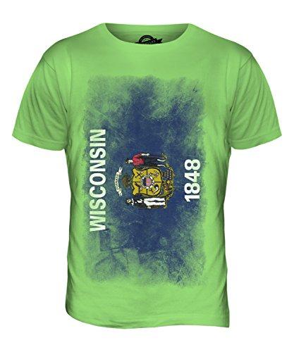 CandyMix Bundesstaat Wisconsin Verblichen Flagge Herren T Shirt Limettengrün