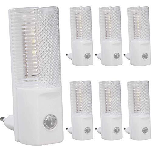 LED Nachtlicht mit Dämmerungssensor Sabia 7 x 1.2W Tageslichtweiß Tag-/Nachtsensor Steckdose 6000K -