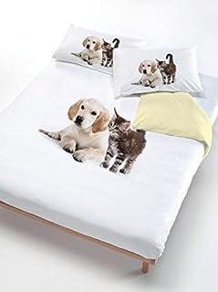 Italian Bed Linen ITALIANO Edredón ROPA DE CAMA Establece perro gato amarillo/blanco en un medio cuadrado de 200 x 200 cm (B00RN2I6P4) | Amazon Products