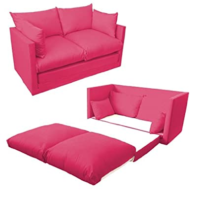 Ready Steady Bed Comfortable Children's Kids Drill 2-Seater Sofa Bed, Fuchsia Pink