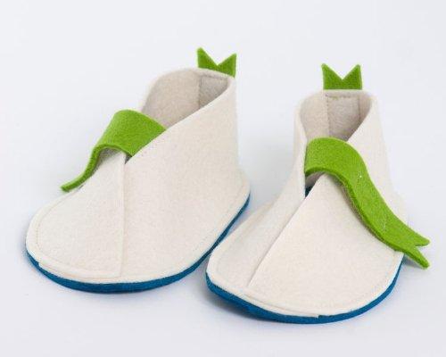 Handgefertigt wunderschönen Baby Schuhe von höchster Qualität Wolle Baby Shoes with Green