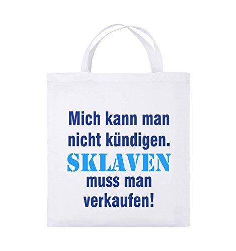 Comedy Bags - Mich kann man nicht kündigen. Sklaven muss man verkaufen! - Jutebeutel - kurze Henkel - 38x42cm - Farbe: Schwarz / Weiss-Neongrün Weiss / Royalblau-Hellblau