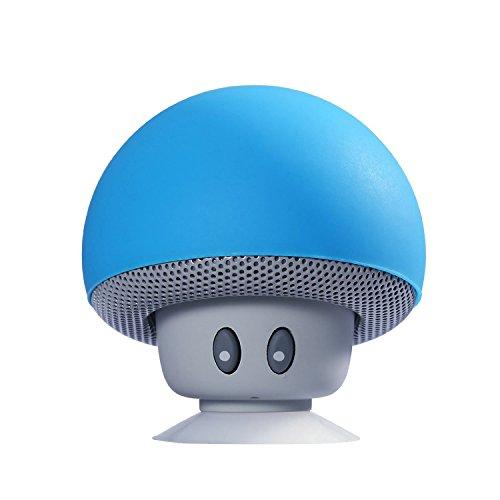 Lautsprecher, Yokkao Mini Tragbares Bluetooth Lautsprecher Stereo Pilzkopf mit Saugnapf Hand Freie für Laptop/Smartphones/MP3/MP4 USW - Blau