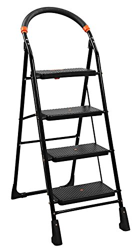 PAffy High Tensile Steel Folding Ladder with Wide Steps – 4 Steps (Clamber)