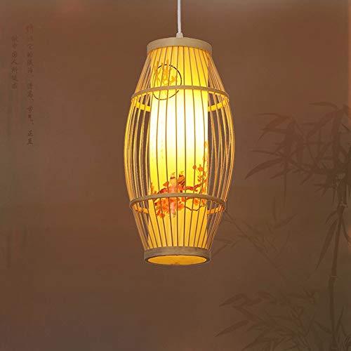 Zhang Yan * Pendelleuchte Kronleuchter Vintage Shabby Green Bamboo Art ist EIN modernes Restaurant Schlafzimmer Birdcage japanischen Lampen, Zylinderlaterne 20Cm 9W Led