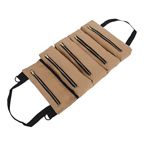 Maritown Roll Tool Pouch Roll, tragbare Roll Tools Tasche Werkzeugtasche Sling Canvas Tool Organizer Eimer Tool Roll Up Pouch handliche kleine Werkzeug Aufbewahrungstasche Auto Rücksitz Organizer