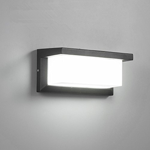 Lightess Apliques de Pared LED 10W Lámpara Exterior Impermeable IP65 Luz de Aluminio Luz Agradable Impermeable Iluminación en Moda para Balcón, Jardín, Porche, Camino, Patio, Blanco Frío