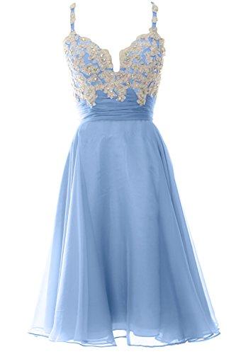 MACloth Women Strap Short Lace Chiffon Cocktail Dress Short Prom Formal  Gown Himmelblau