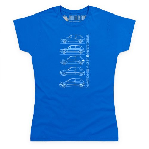Hatchback Heroes T-Shirt, Damen Royalblau