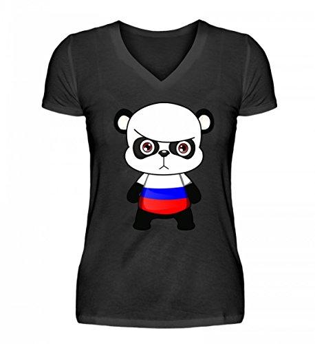 PlimPlom Hochwertiges V-Neck Damenshirt - Russland Russia WM Fan Tshirt Russische Nationalmannschaft Shirt Trikot Fußball Panda