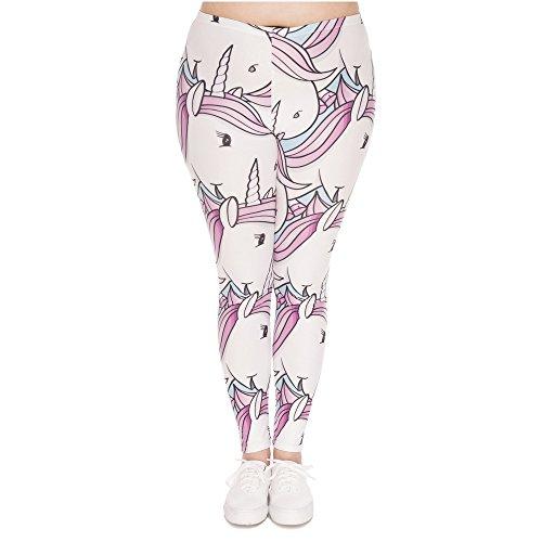 POAONOSS Pantalones de yoga de ventas calientes Leggings de gran tamaño Unicornios blancos estampados de cintura alta Leggins pantalones de talla grande Pantalones de estiramiento para mujeres regordetas   lgd45767, Talla única