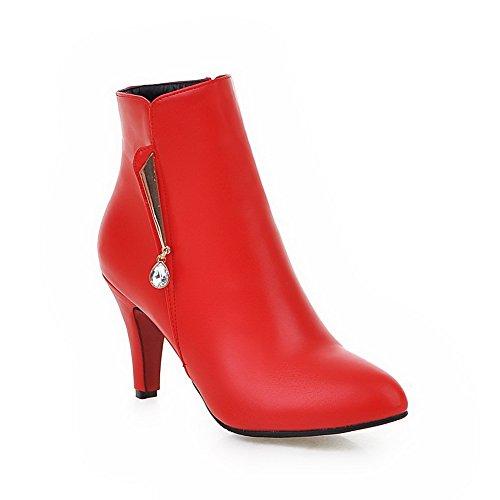 AgooLar Damen Hoher Absatz Niedrig-Spitze Rein Reißverschluss Stiefel mit Anhänger, Rot, 36