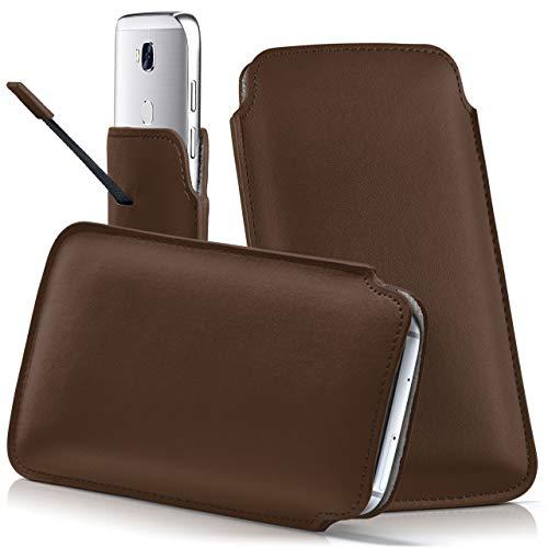 moex Wiko View XL | Hülle Braun Sleeve Slide Cover Ultra-Slim Schutzhülle Dünn Handyhülle für Wiko View XL Case Full Body Handytasche Kunst-Leder Tasche