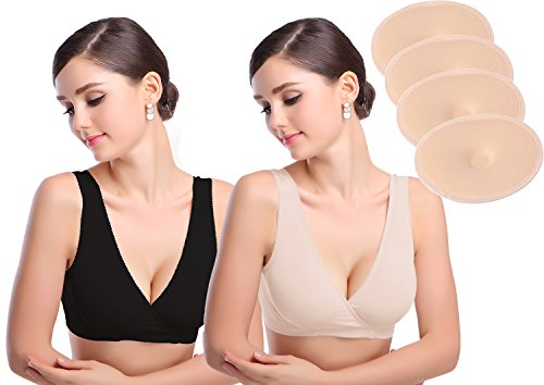 Cimary Damen Still-BH Schwangerschaft Still BHs ohne Bügel nahtlose zusätzlichen 3D Stilleinlagen (Baumwolle Nahtlose Underwire)