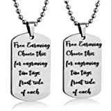 Streetsoul Engraved Silver Stainless Steel 2mm Army Tag Necklace for Women