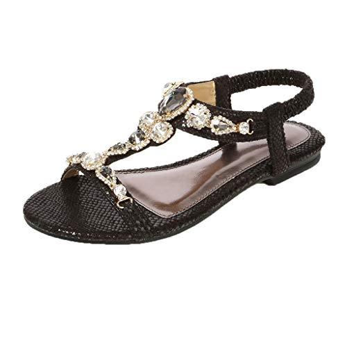 Sandalo gioiello con taccoscarpe da donna sandali etnici romane con strass perline(nero,35)