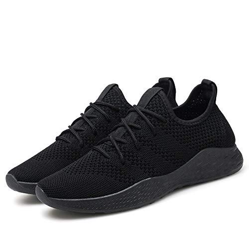 MOIKA Sneakers Uomo Scontate Uomini traspiranti di alta qualità confortevole antiscivolo Soft Mesh uomini scarpe(250/41, Nero)