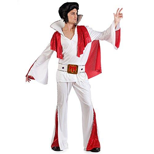 Kostüm Rockstar Elvis Gr M-XL Anzug rot-weiß 50er Jahre (Large)
