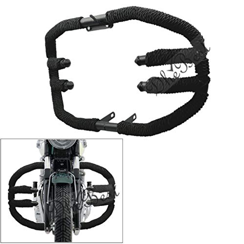 Dhe Best Bike Bullet Front Leg Guard 8 Bend Heavy 2 Bar - Rod Diamond Tied Strong Rope Black for Royal Enfield Classic Battle Green 500
