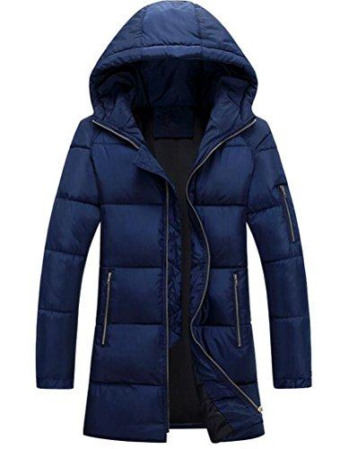 Vogstyle Herren Parka mit Kapuze Wintermantel Baumwolle Jacken Mäntel Mens Hooded Winter Warm Coat Jacket Art 3 Blau